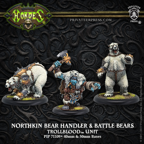Northkin Bear Handler & Battle Bears – Trollblood Unit (resin/metal)