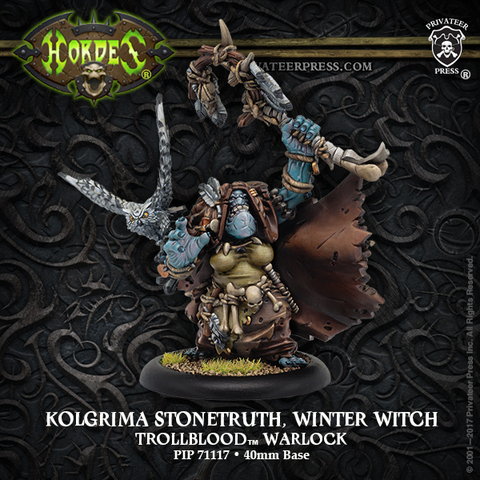 Kolgrima Stonetruth, Winter Witch – Trollblood Warlock (resin/metal)